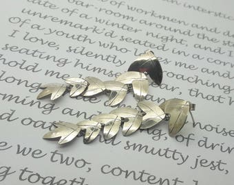 Dramatic Sterling Silver Long Dangle  Earrings/Falling Leaves Silver Earrings/925/Handmade/Vintage/Free Shipping US