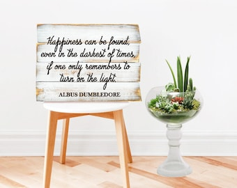 Framed Harry Potter Wall Art Print | Harry Potter Gift | Dumbledore Quote | Happiness can be found even in the darkest of times Quote