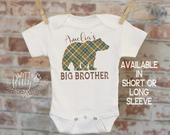 Buffalo Plaid Bear Personalized Big Brother Onesie®, Customized Sibling Onesie, Boho Baby Onesie, Cute Plaid Onesie, Boy Onesie - 418A