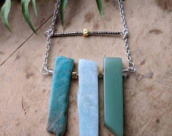 Minimalist Boho Chic Natural Stone Necklace, Layering