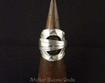 "Whole spoon ring openwork EthniK ""Teepee"" silver metal"