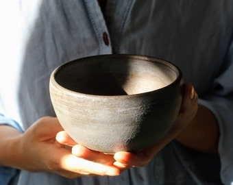 SOLD--Rustic Grey-Blue Bowl