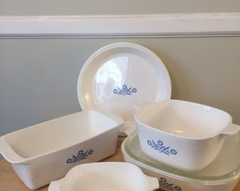 Seven (7) Pieces of Vintage Corningware in Original Cornflower Pattern Loaf, Pie Plate, Casseroles