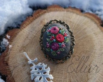 Embroidered brooch Embroidery Red rose jewelry Colorful brooch Flower wife Eco friendly jewelry Unusual Floral Nature lover gift Ukrainian