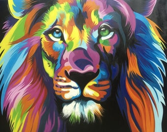Abstract Lion Painting in Various Sizes