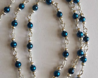 55cm of string/Navy blue glass Pearl 4mm beads