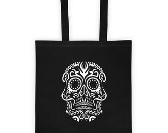 Tribal VooDoo Day Of The Dead Halloween Skull Print Tote bag