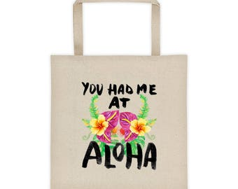 You Had Me At Aloha - Tropical Hawaiian Vacation Floral Beach/Tote bag