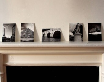 "Retrouvailles - Set of 5 Original Paris Postcard Prints - Black and White - Gloss - 6"" x 4"" A6"