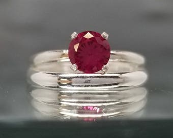 ruby engagement ring wedding band bridal set silver promise lab created size 5 6 7 8 - Ruby Wedding Rings