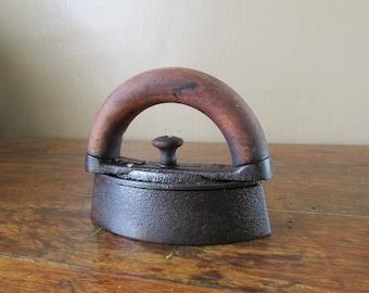 Antique Iron - Old Sad Iron - Antique Wood Handle Iron - Vintage Sad Iron