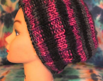 Pink and Black Knit Hat
