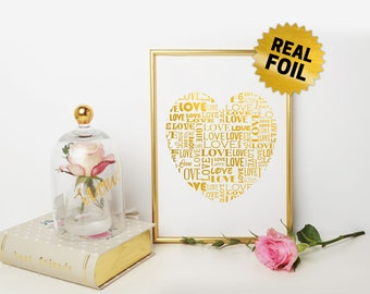 Love & Heart, Real Foil Wall Art, Valentine Day, Home Decor, Decoration, Romantic Gift, Gift for Her, Gold Foil Print, Variety of Colors
