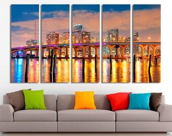 Miami city, Miami canvas, Miami  photo, Miami  print, Miami picture, Miami wall art, Miami home decor, Miami decor, Canvas, Large canvas