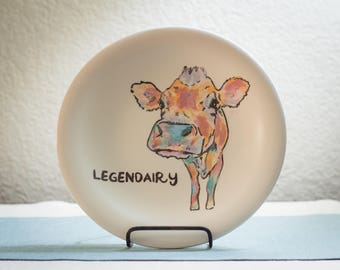 Legendairy - Cow Animal Pun Dinner Plate - Hand Painted Farm to Table Ceramics - Foodie Gift - Housewarming Gift