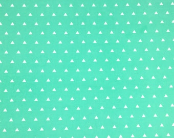 Light Green Triangle Cotton Fabric, 100% Cotton, Fabric By the Yard, Quilting Fabric, Apparel Fabric, Triangle Print Fabric
