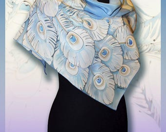 Silk Shawl Scarf White peacock, Handmade , Scarves for women, Colourful Handpainted scarf, Silk Wrap, Rare Unique Gift