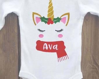 Unicorn Christmas onesie, christmas onesie, personalized Christmas onesie, christmas outfit, christmas shirt, christmas baby outfit, unicorn