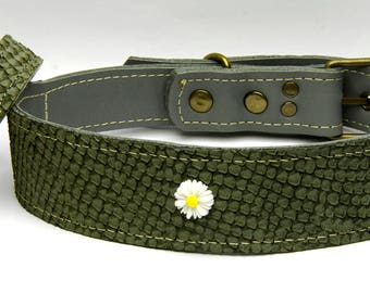 Handmade natural genuine leather luxury dog collar and owner's bracelet