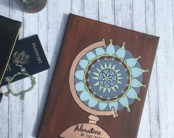 Travel Themed Artwork - Mandala Globe - Adventure is Out There