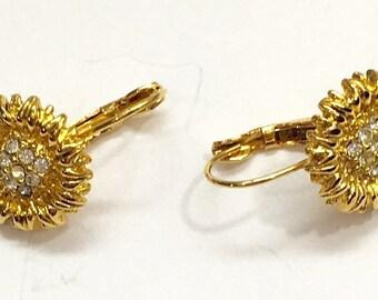 Gold Sunflower Crystal Earrings