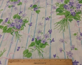 Vintage Sheet - Twin Flat Stevens Utica No Iron Percale 50/50 Cotton/Poly Purple and Green Floral