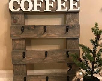 Handcrafted Coffee Mug Rack - Coffee Cup Rack - Coffee Cup Holder - Wall Coffee Cup - Rustic Decor - Wall Decor