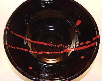 Black-As-Ink Ceramic Serving Bowl/Red Trim