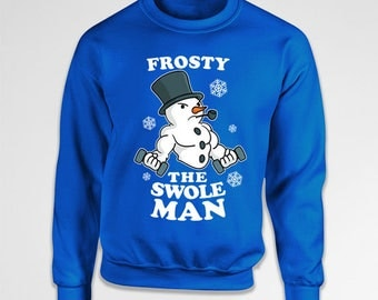 Snowman Sweater Christmas Hoodie Gym Lover Gift Ideas For Him Xmas Present For Her Holiday Jumper Christmas Pullover Gym Rat X-Mas TEP-533