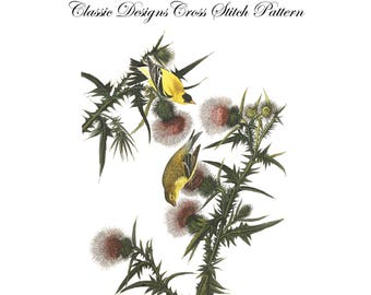 Audubon's Plate 33 American Goldfinch Cross Stitch Pattern