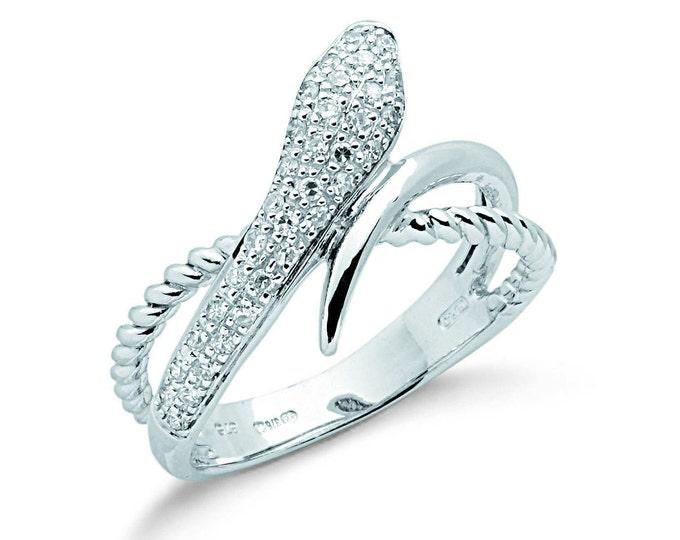 9ct White Gold 0.22ct Pave Diamond Snake Ring Hallmarked 375 - Size L