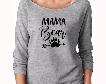 Mom shirt, Mama Bear Shirt, Off the shoulder, Off shoulder sweatshirt, Gift for mom, Mama Bear, baby shower gift, mom life shirt