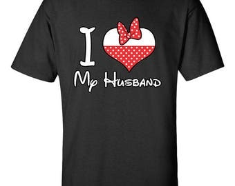I Love My Husband Minnie Mouse Disney Couple T-Shirts Men Size Unisex Designed Cotton Tee Shirts for Men and Women