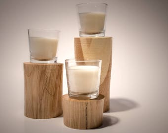 Shagbark Hickory Candle Pedestals (Set of 3)