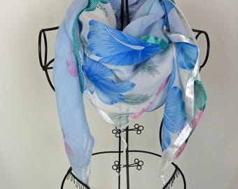 Blue Square scarf, collection 120, shawl, scarf, pink scarf, woman scarf flower scarf, Flemish roses