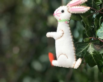 "4"" hand stitched cute bunny rabbit with carrot felted rabbit bunny felt tree decoration / felt hanging ornament chic felt / primitive decor"