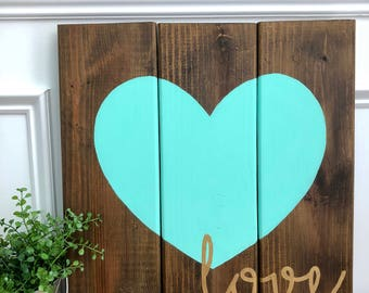 Love Sign, Heart Sign, Wood Sign, Homemade Sign, Hand Painted Sign, Wedding Gift, Collage Sign, Home Decor, Wall Art, Planked Sign