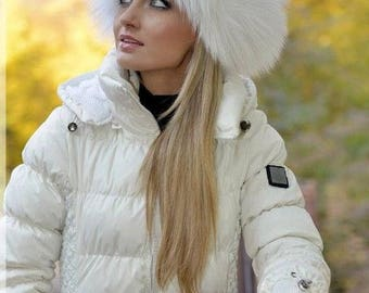 FOX FUR hat Warm women beanie NEW white black elegant skull cap Winter toque Beret Headwear Luxury gift for women Russian boho vintage style