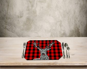 Deer Placemat,Rustic Table Place mat,Deer, Buck,Deer Kitchen Decor,Checker Pattern, Add a Fun Rustic Cottage Touch to your Kitchen Table.