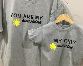 Set of 2. You are my sunshine matching mom and son/daughter
