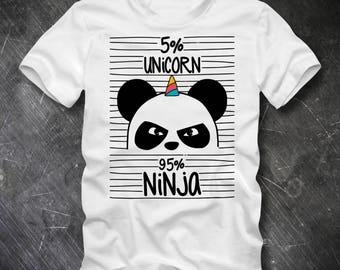 PANDA T Shirt Pandicorn UNICORN NINJA Fun Shirt Panda Shirt Cute Animal T Shirt