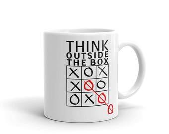 Think outside the box Mug tic tac toe mug Xs and Os Inspirational, Motivational, Positive, Affirmation Quote