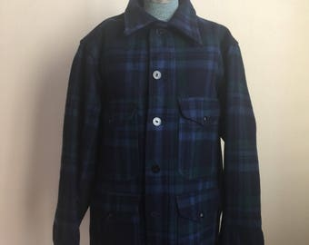 Vintage Pendleton blue / green plaid flannel wool coat jacket