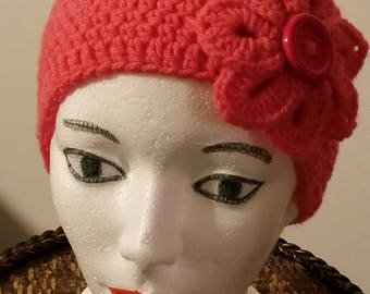 Pink Headband with Flower Accent/Crochet Headband/Ear Warmers/Hats and Headbands/READY TO SHIP