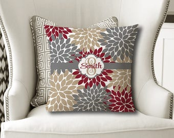 Monogram Flower Throw PILLOW, Floral Maroon Tan Gray, Flower Pillow Cover or With Insert, Flower Matching Bedding, Choose Your Colors