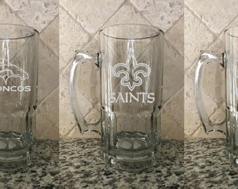 Personalized Football Team Etched Beer Mug 32oz
