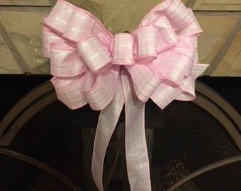 Farmhouse Bow, Spring Bow, Pink Bow, Plaid Bow, Wreath Bow, Baby Girl Bow