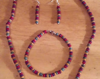 Multi Colored Wooden Bead Necklace Set