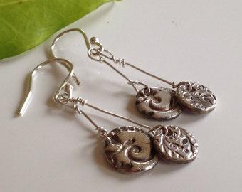 Silver woodland drop earrings