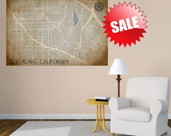 SILVERLAKE CANVAS MAP California Poster Los Angeles Neighborhood Map City Map Vintage City Art Map Silver lake Los Feliz Echo Park Ca Art